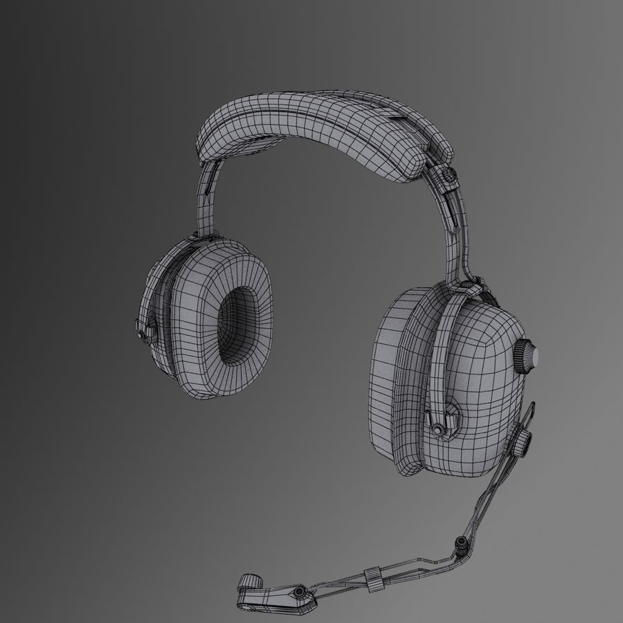 David Clark H10-36 Pilots headset royalty-free 3d model - Preview no. 10