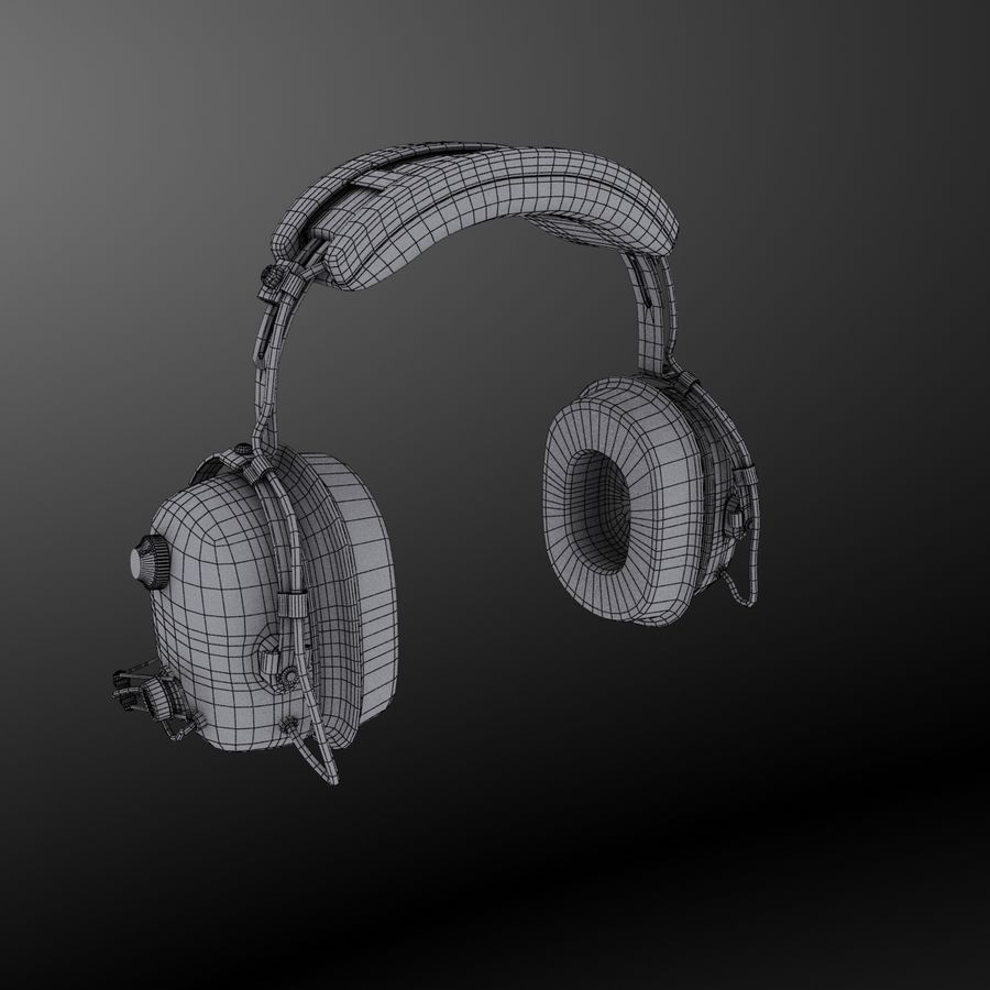 David Clark H10-36 Pilots headset royalty-free 3d model - Preview no. 13