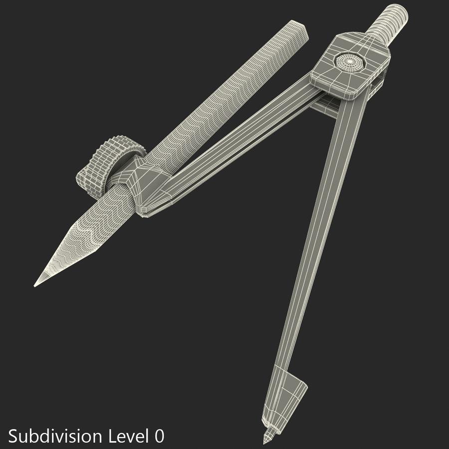 Bússola de desenho com lápis royalty-free 3d model - Preview no. 1