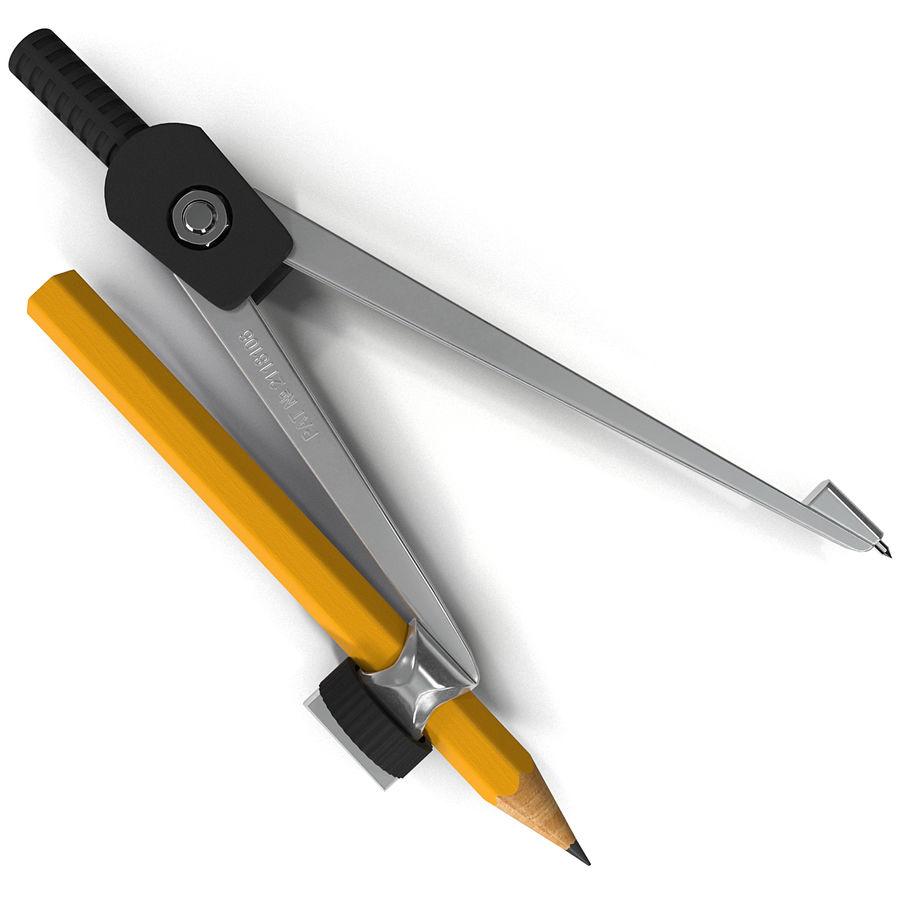 Bússola de desenho com lápis royalty-free 3d model - Preview no. 3