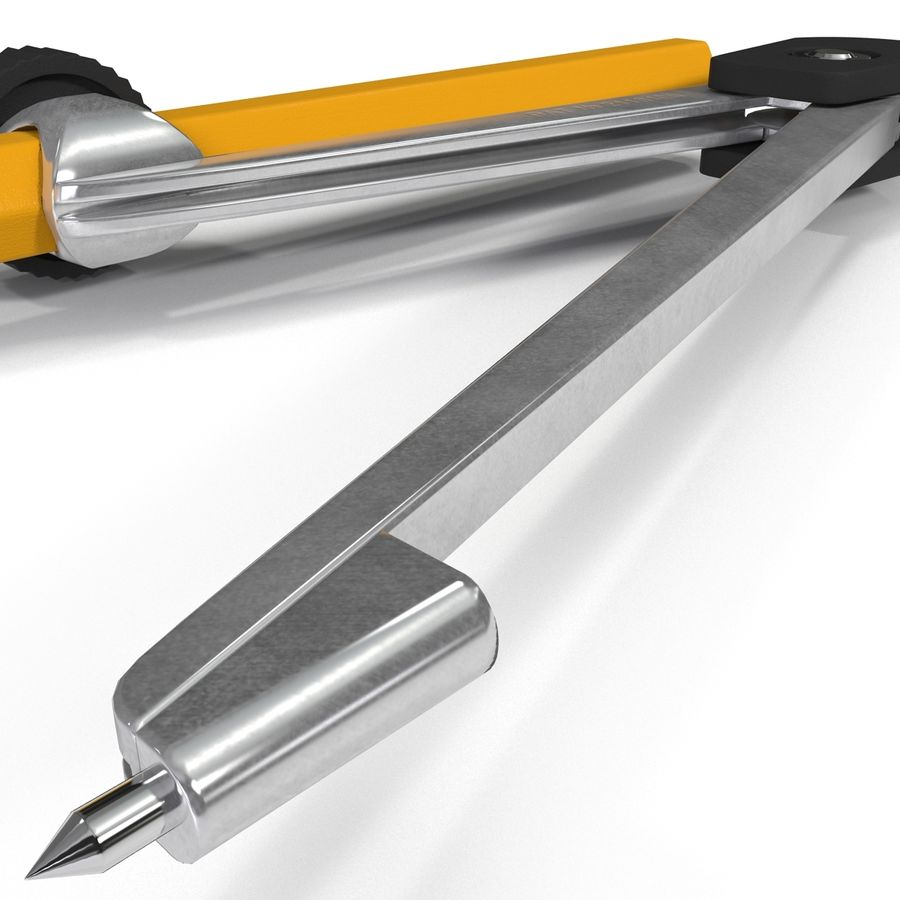 Bússola de desenho com lápis royalty-free 3d model - Preview no. 9