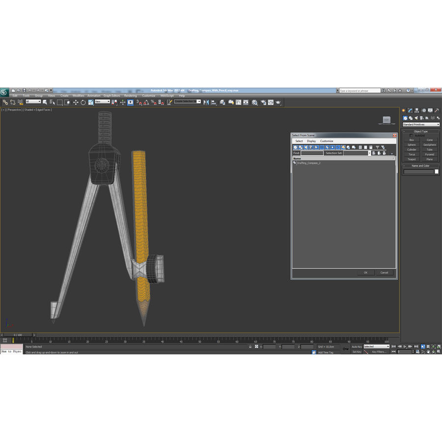 Drafting Compass With Pencil royalty-free 3d model - Preview no. 30