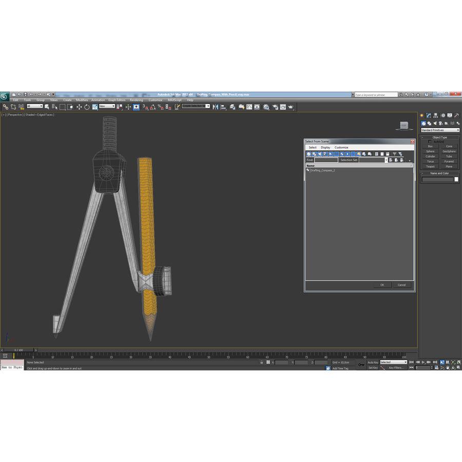 Bússola de desenho com lápis royalty-free 3d model - Preview no. 30