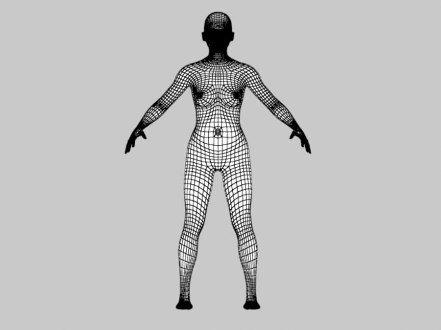Maglia femminile a base poli bassa royalty-free 3d model - Preview no. 6