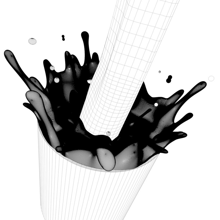 Milk Splash royalty-free 3d model - Preview no. 5