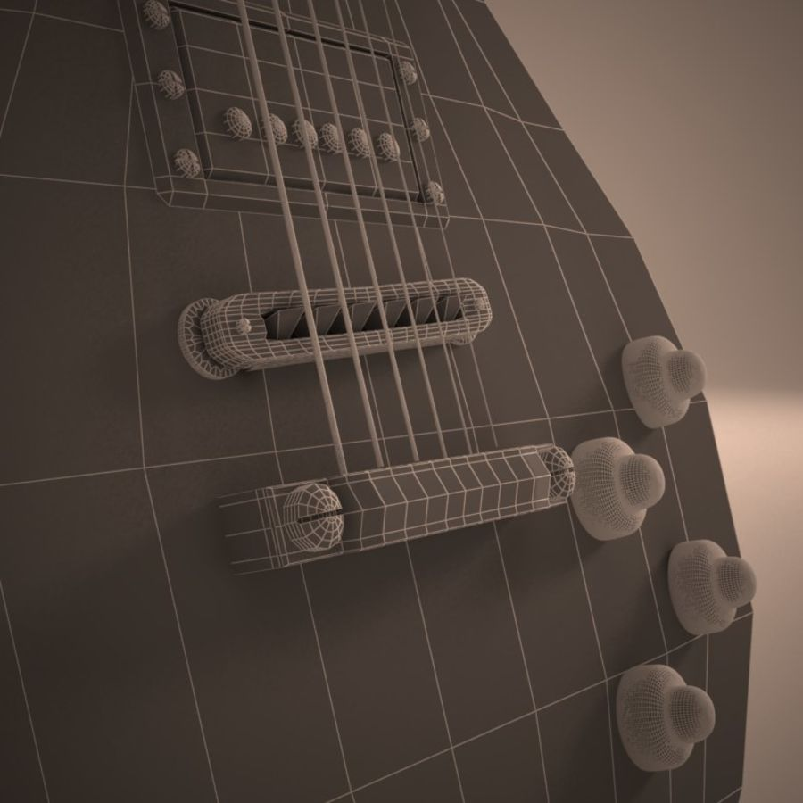 Les Paul Guitar royalty-free 3d model - Preview no. 7