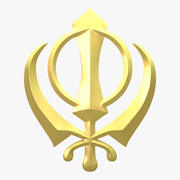 Symbol Khanda 3d model