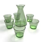 Jarra de jarra de vidrio + vaso para beber modelo 3d