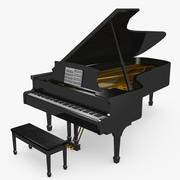 Black Grand Piano 3d model