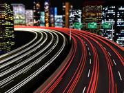 Cidade da estrada na estrada da noite 3d model