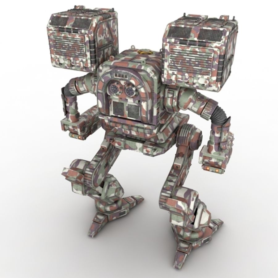 Army Mech Worrior Robot V5 royalty-free 3d model - Preview no. 3