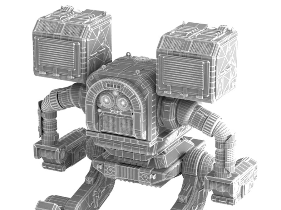 Army Mech Worrior Robot V5 royalty-free 3d model - Preview no. 11