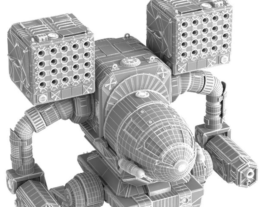 Army Mech Worrior Robot V5 royalty-free 3d model - Preview no. 9