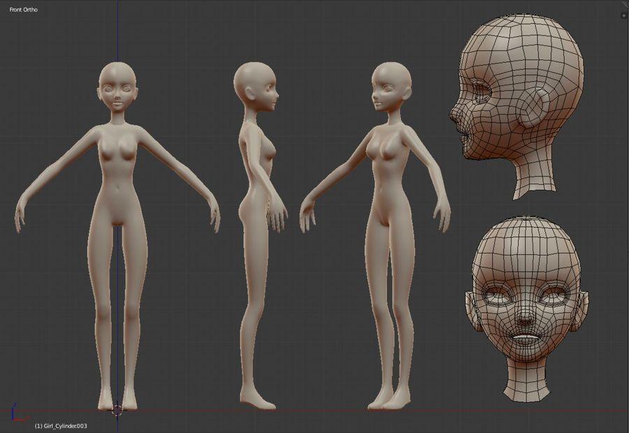 Female Base Mesh royalty-free 3d model - Preview no. 5