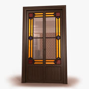 Fransk stil dubbel dörr 3d model