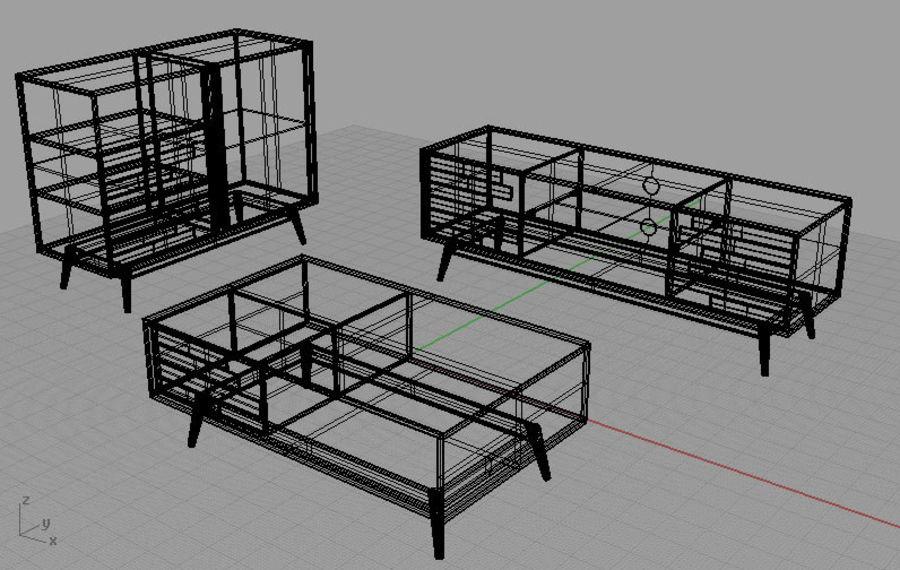 modernt möbler set vardagsrum royalty-free 3d model - Preview no. 5