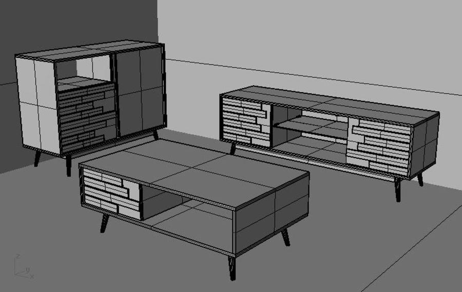 modernt möbler set vardagsrum royalty-free 3d model - Preview no. 4