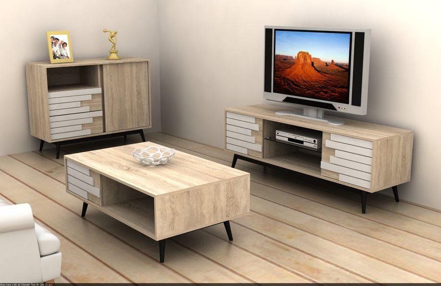 modernt möbler set vardagsrum royalty-free 3d model - Preview no. 2