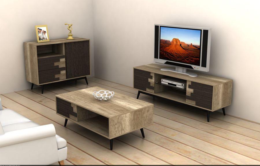 modernt möbler set vardagsrum royalty-free 3d model - Preview no. 1