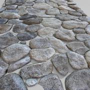 Stenen bestrating ronde circulaire blok decoratieve muur kasteelruïne oud 3d model