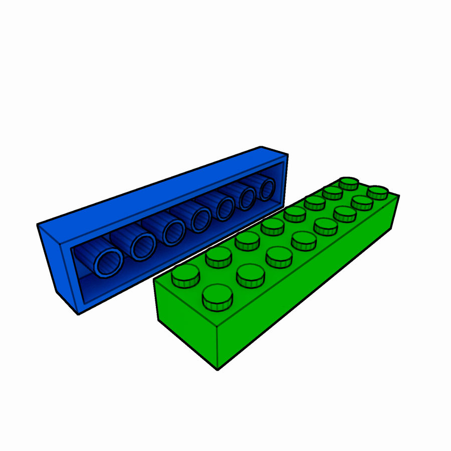 Lego Brick Pack Toon rendered royalty-free 3d model - Preview no. 31