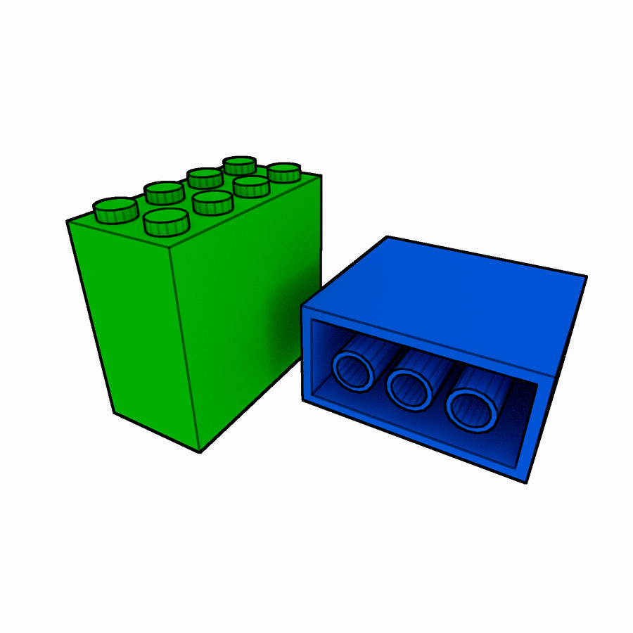 Lego Brick Pack Toon rendered royalty-free 3d model - Preview no. 49