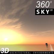 Ciel 3d coucher de soleil 025 3d model