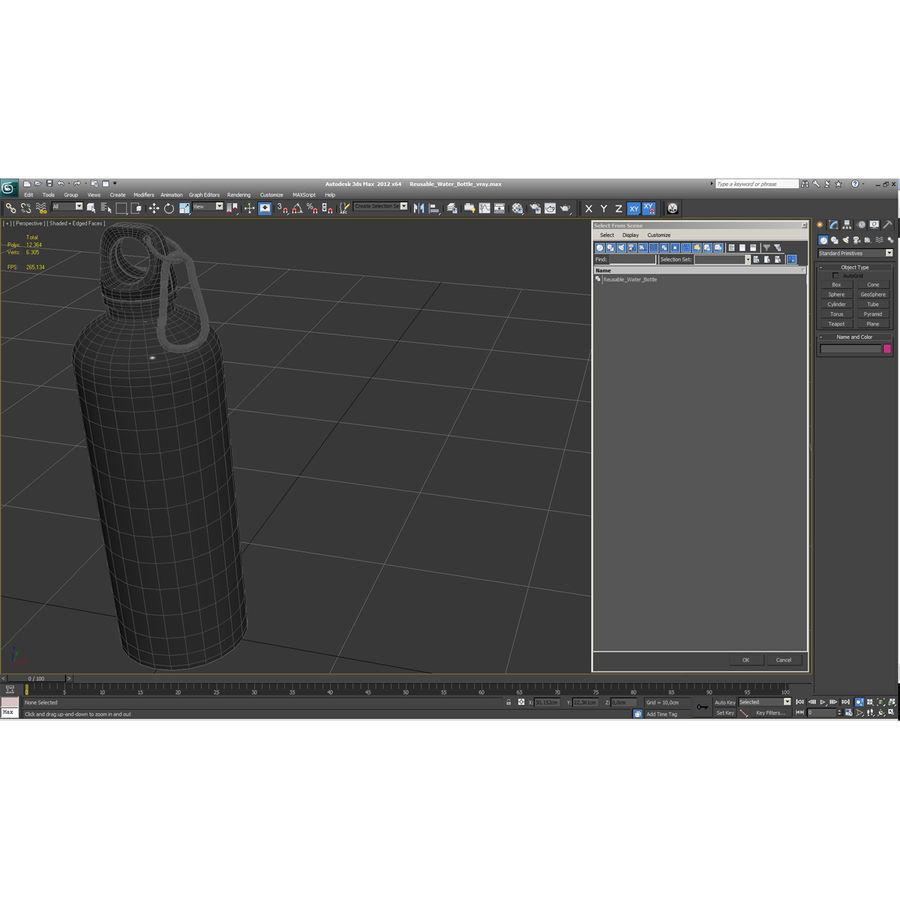Reusable Aluminium Water Bottle royalty-free 3d model - Preview no. 6