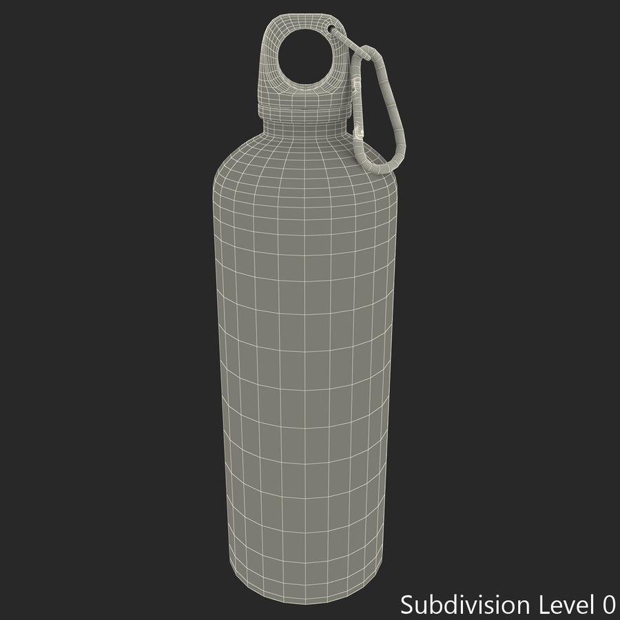 Reusable Aluminium Water Bottle royalty-free 3d model - Preview no. 2