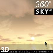 Ciel 3d coucher de soleil 048 3d model