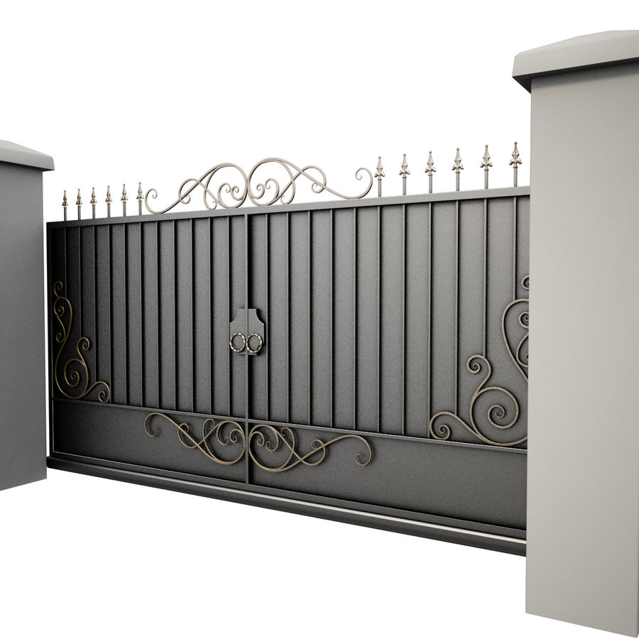 Wrought Iron Gate 34 royalty-free 3d model - Preview no. 4