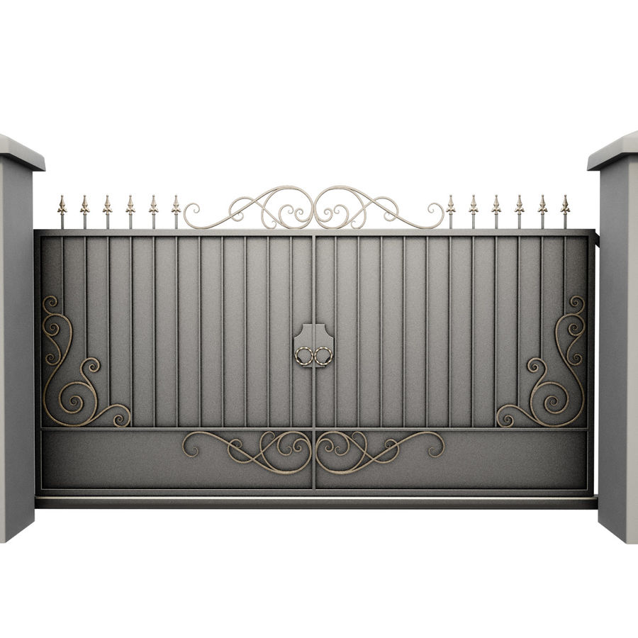 Wrought Iron Gate 34 royalty-free 3d model - Preview no. 3