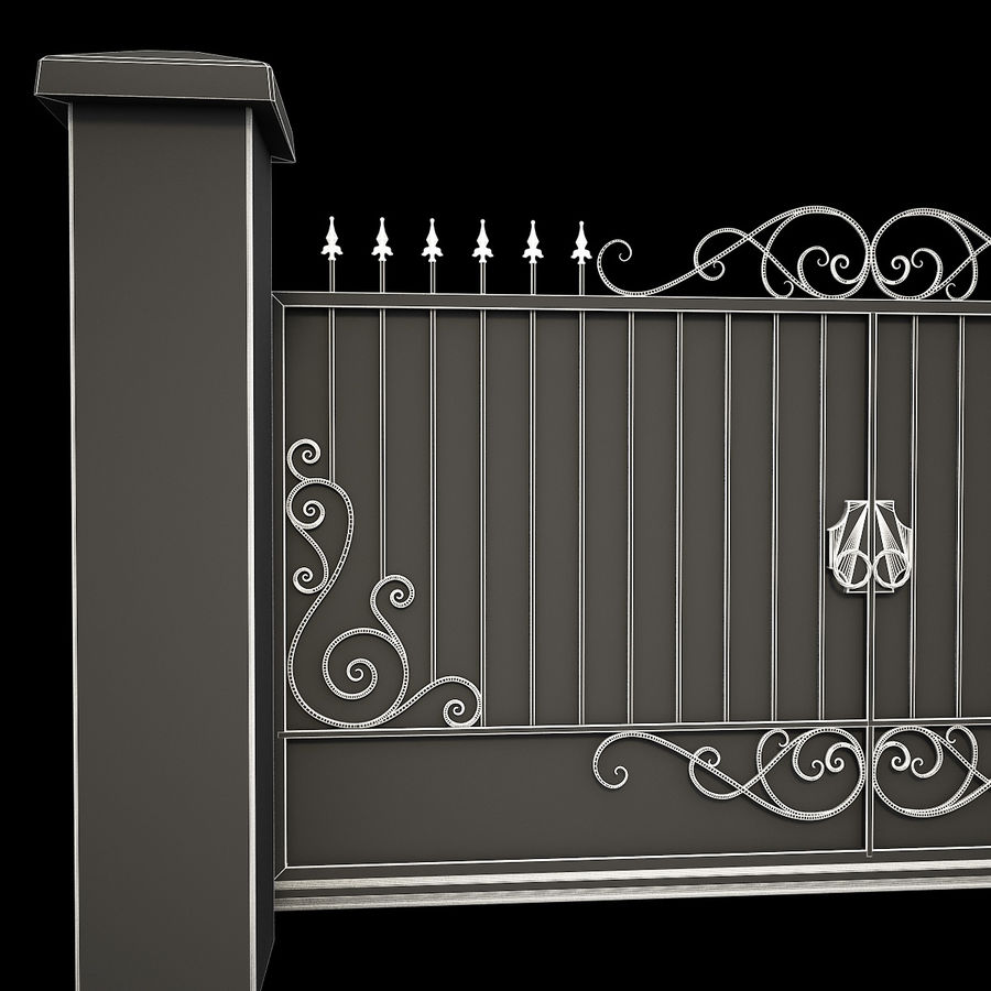 Wrought Iron Gate 34 royalty-free 3d model - Preview no. 15