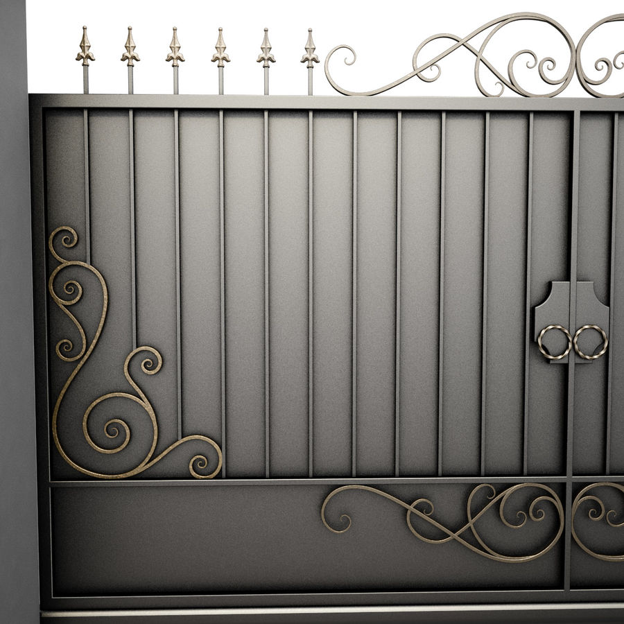 Wrought Iron Gate 34 royalty-free 3d model - Preview no. 7