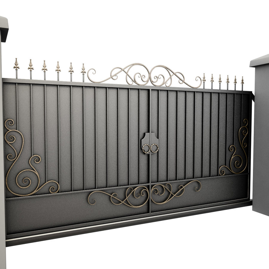 Wrought Iron Gate 34 royalty-free 3d model - Preview no. 5