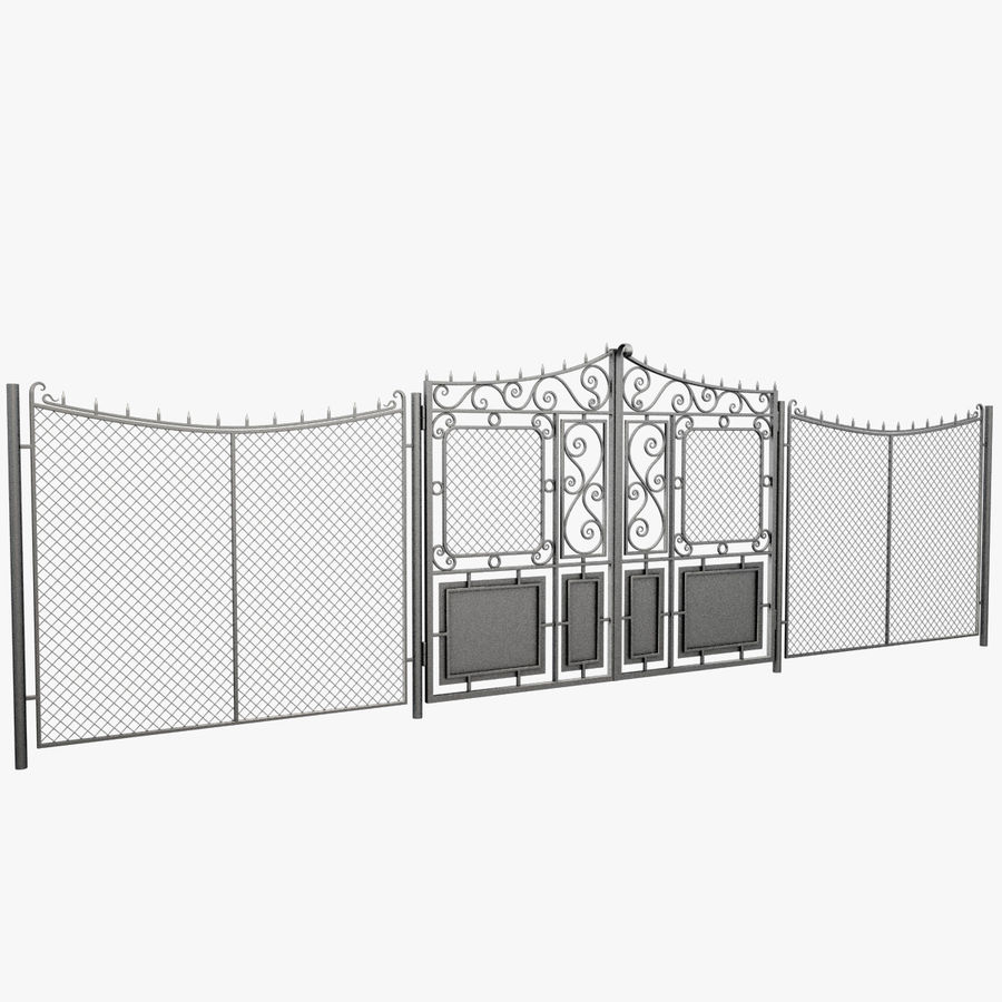 Gate and Fence royalty-free 3d model - Preview no. 2