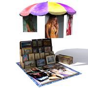 Umbrella Poster Shop Low Poly 3d model