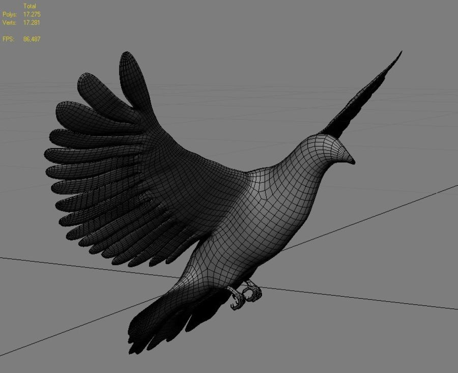 Model 3D animowany w technologii Low Poly Dove royalty-free 3d model - Preview no. 9