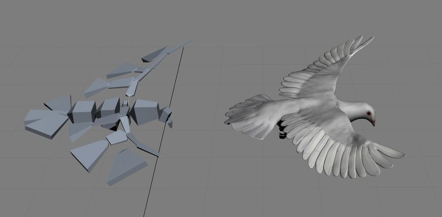 Model 3D animowany w technologii Low Poly Dove royalty-free 3d model - Preview no. 7