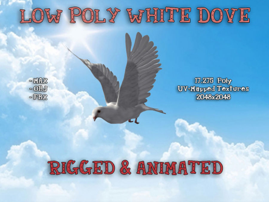 Model 3D animowany w technologii Low Poly Dove royalty-free 3d model - Preview no. 1