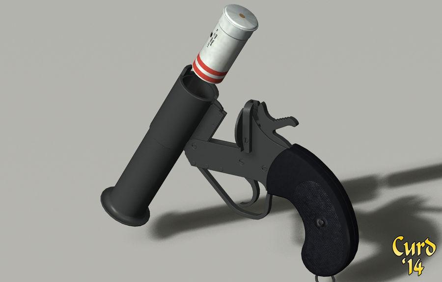 pistola lanciarazzi britannica royalty-free 3d model - Preview no. 3