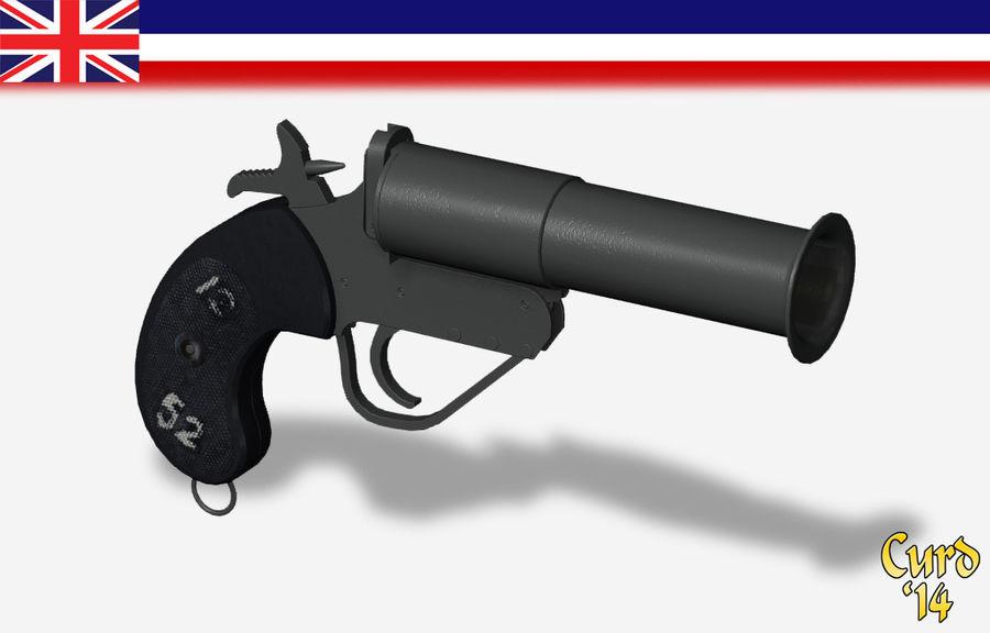 pistola lanciarazzi britannica royalty-free 3d model - Preview no. 1