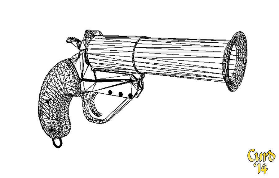 pistola lanciarazzi britannica royalty-free 3d model - Preview no. 7