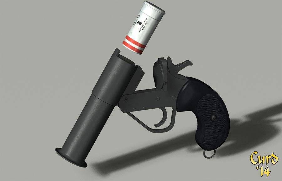 pistola lanciarazzi britannica royalty-free 3d model - Preview no. 6