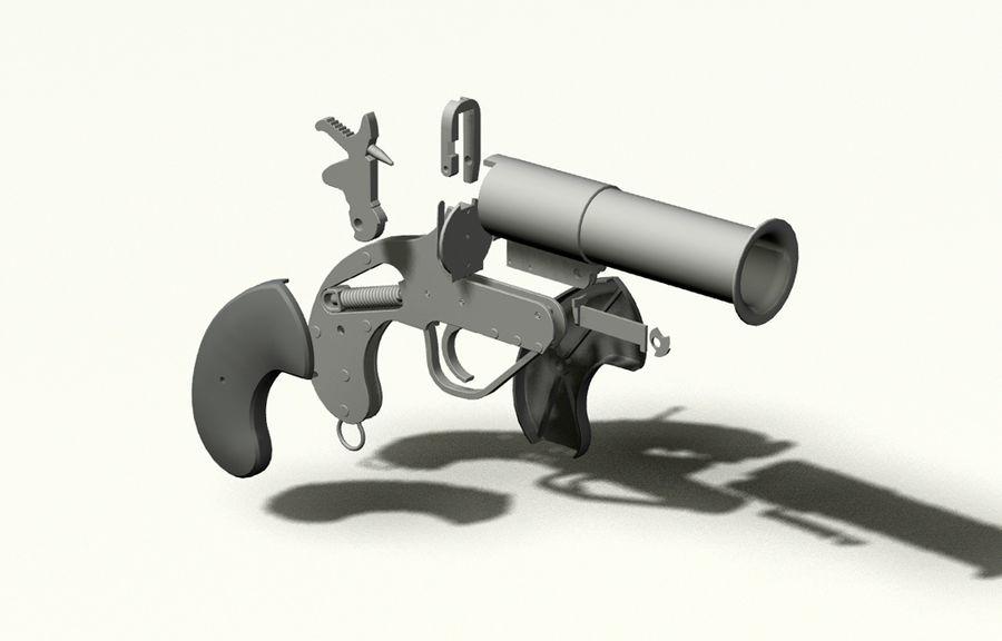 pistola lanciarazzi britannica royalty-free 3d model - Preview no. 4