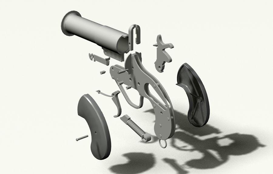 pistola lanciarazzi britannica royalty-free 3d model - Preview no. 5
