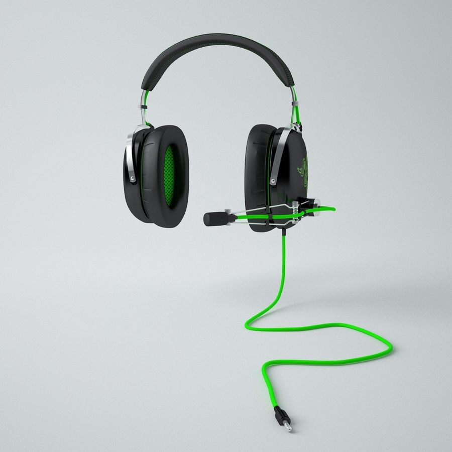 Razer Black Shark Analog Gaming Headset royalty-free 3d model - Preview no. 9