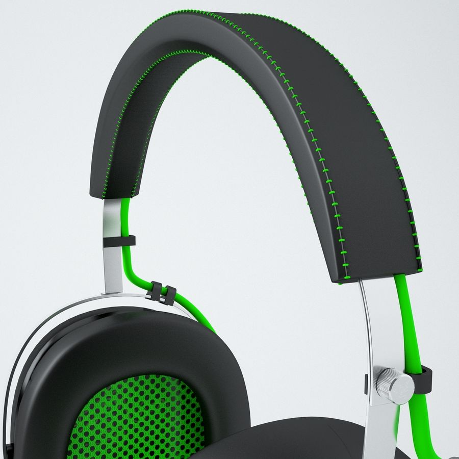 Razer Black Shark Analog Gaming Headset royalty-free 3d model - Preview no. 6