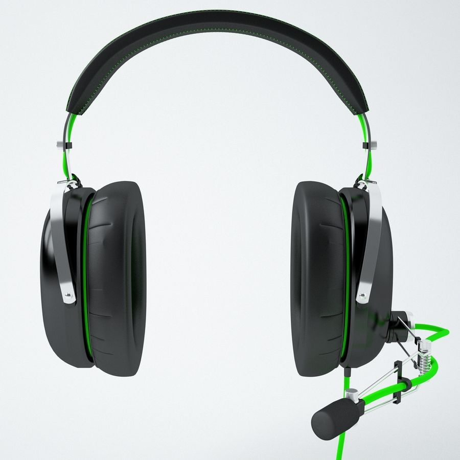 Razer Black Shark Analog Gaming Headset royalty-free 3d model - Preview no. 3