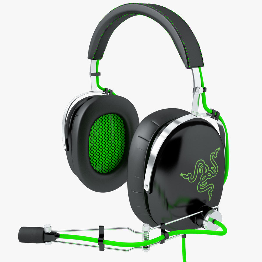 Razer Black Shark Analog Gaming Headset royalty-free 3d model - Preview no. 1
